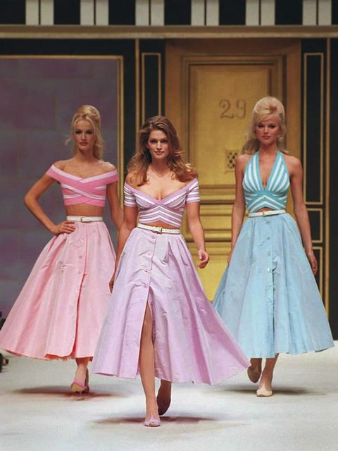 <p>Karen Mulder, Cindy Crawford and Eva Herzigova walk the catwalk at Herve Leger's spring/summer 1996 ready-to-wear show</p>