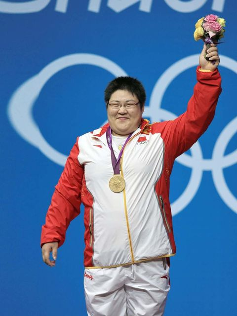 <p>Zhou Lulu at the London Olympics wins the gold medal for women's weightlifting, August 2012.</p>