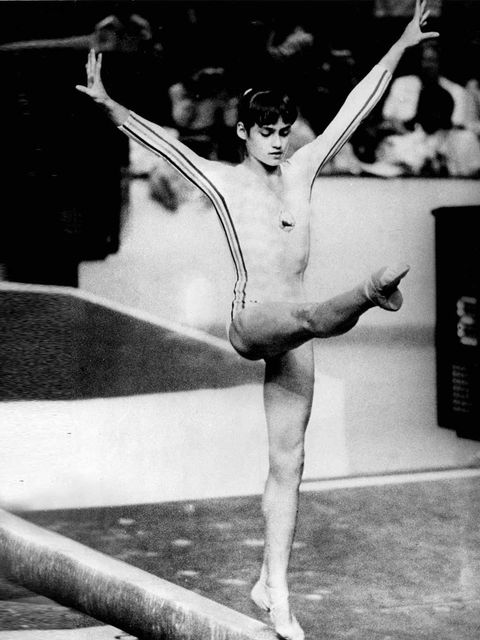 <p>Nadia Comaneci performing at the Olympics Games in Montreal, just before winning the gold medal, July 1976.</p>