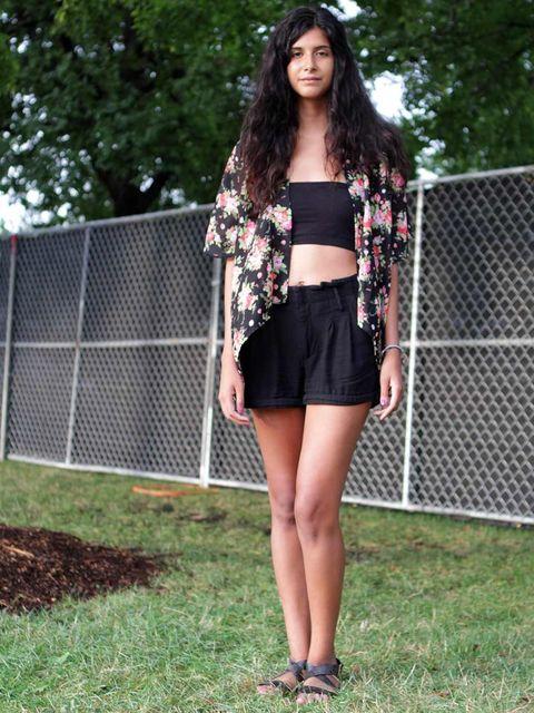 <p>Ariel Delarosa, 23, Student.Vintage top, H&M shorts.</p>