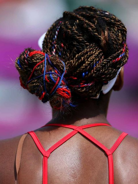 <p>Venus Williams, Tennis player from the USA, with patriotic braids</p>