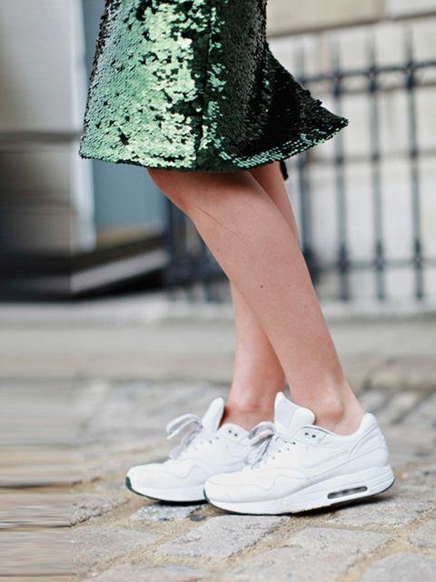 """<p>Harriet Stewart wears <a href=""""http://www.nike.com/gb/en_gb/"""">Nike</a> shoes £99, <a href=""""http://www.topshop.com/?geoip=home"""">Topshop</a> skirt. </p>"""