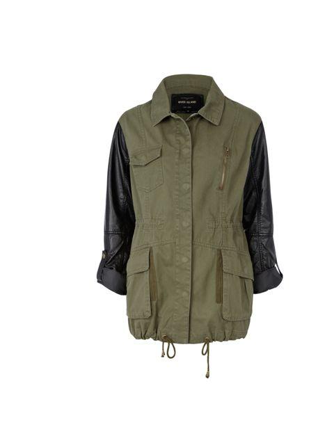 "<p><a href=""http://www.riverisland.com/Online/women/coats--jackets/jackets/khaki-pu-sleeve-army-jacket-624296"">River Island</a> leather sleeve army jacket, £55</p>"