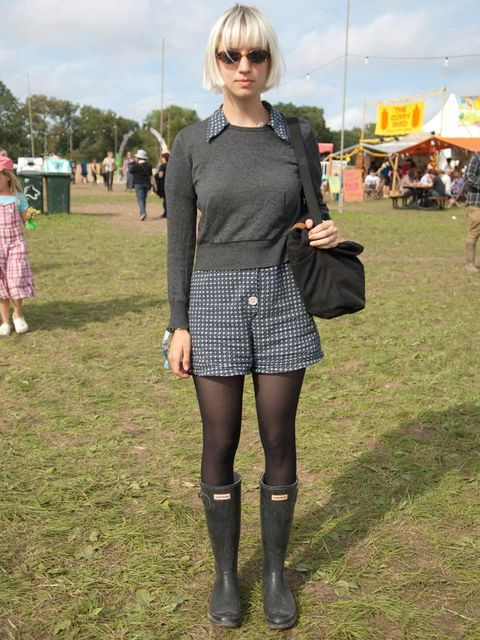 <p>Maddy, 20, Student. Charity shop sweater, APC playsuit, Hunter boots, Muji bag, Aunt's sunglasses.</p>