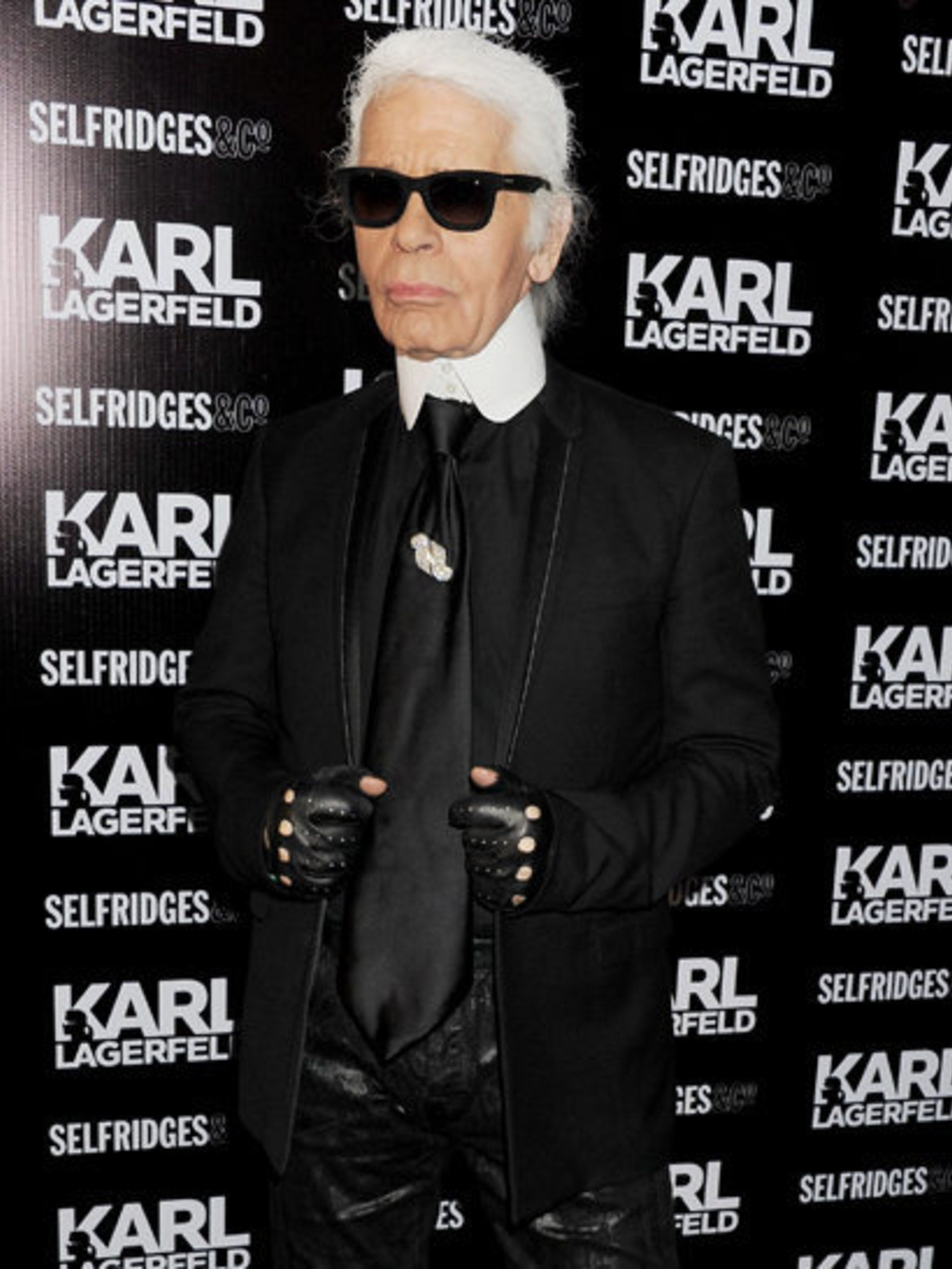 <p>Karl Lagerfeld at his Selfridges launch party</p>