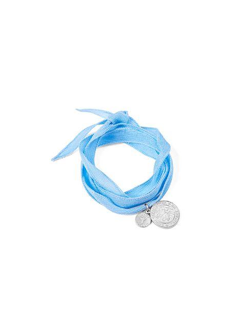 "<p><a href=""http://www.heidiklein.com/accessories-c5/jewellery-c28/heidi-klein-st-christopher-wrap-bracelet-blue-with-silver-charm-p77"">Heidi Klein </a>bracelet, £22</p>"