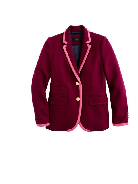 <p>This blazer is preppy and effortlessly cool- the maroon colour with the pink piping works a dream</p><p>Blazer, £268</p>