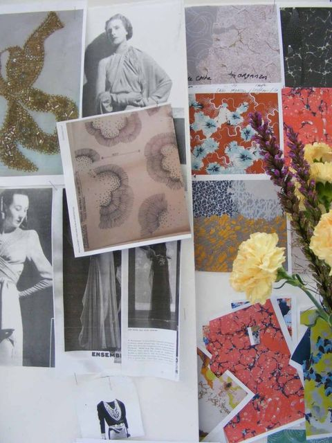 <p>Michael Van Der Ham's A/W '12 mood board and fabric swatches</p>