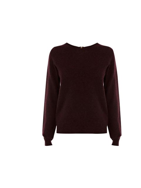 "<p>It might be a luxe fabric, but you can find cashmere on the high street too! Take after Deputy Art Director Lisa Rahman and try burgundy as a softer alternative to black.</p><p><a href=""http://www.warehouse.co.uk/cashmere-jumper/jumpers-&-cardigans/war"