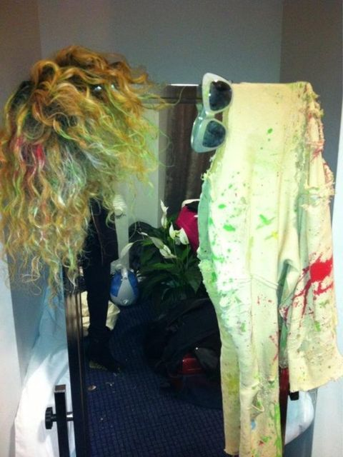 <p>Rihanna tweeted this picture of her wig backstage at the Brit Awards 2012</p>