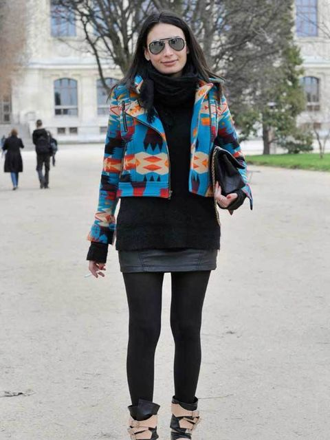 <p>Lititia, Editor French GQ. Kenzo jacket, Rick Owens jumper, Maje skirt, Wolford tights, Vivienne Westwood boots, Chanel bag, Ray Ban glasses. </p>