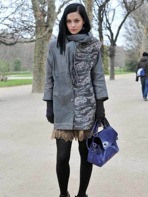 <p>Leigh, Celebrity DJ. Kenzo coat, dress, scarf and shoes. Mulberry bag.</p>