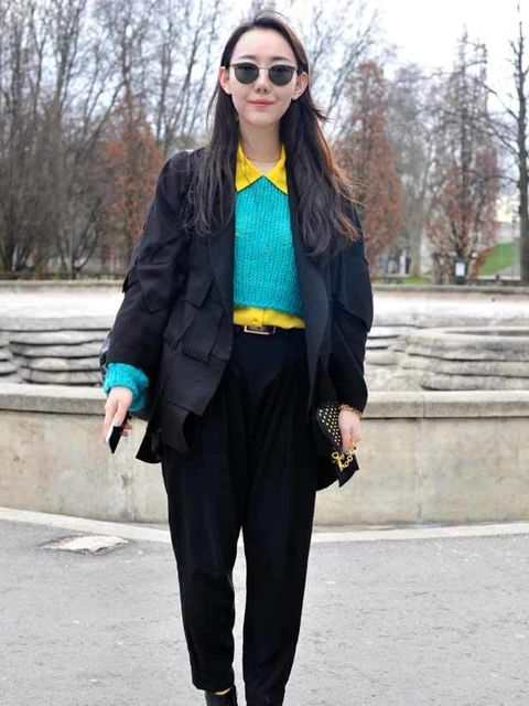 <p>Zoe, Student. Jacket own design, vintage jumper, shirt and glasses, Alexander Wang trousers and bag, Jeffrey Campbell shoes</p>