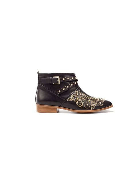 """<p>Add cool-girl edge to neon jeans with these studded ankle boots… <a href=""""http://www.zara.com/webapp/wcs/stores/servlet/product/uk/en/zara-S2012/189510/711515/ANKLE%2BBOOT%2BWITH%2BSTUDDED%2BTOE"""">Zara</a> studded ankle boots, £119</p>"""