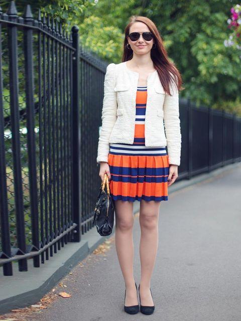 <p>Anastasia Ivanova wears a dress from Amsterdam, Zara jacket, vintage bag, Hugo Boss glasses, Zara shoes.</p>