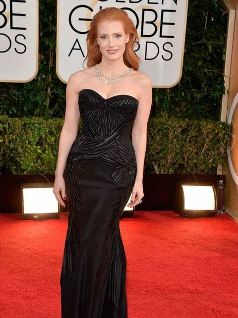 """<p><a href=""""http://www.elleuk.com/star-style/celebrity-style-files/jessica-chastain"""">Jessica Chastain's</a> black dress is also a brilliant exercise in dressing for your style and shape. This accentuates her porcelain skin and red hair perfectly, and the"""