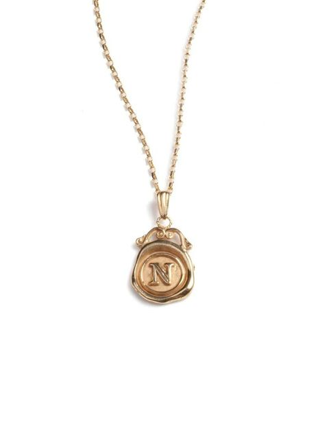 "<p>This London designer's quirky personalised pendants make our new season shopping list.</p><p><a href=""http://www.jessicadelotz.co.uk/product/9ct-gold-mini-personalised-seal-necklace"">Jessica de Lotz</a> necklace, £395</p>"