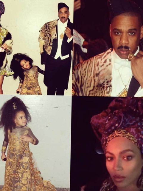 Beyoncé as Queen Aoleon, Jay-Z as Prince Akeem and Blue Ivy as Imani Izzi from Coming To America