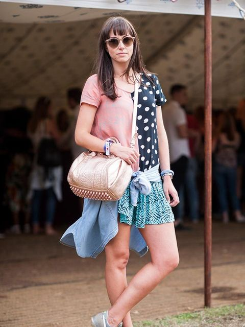 <p>Name: Amber Moore</p>  <p>Wearing: Topshop shirt, Chelsea Girl dress, Nike trainers, Alexander Wang bag and Ray-Ban sunglasses</p>