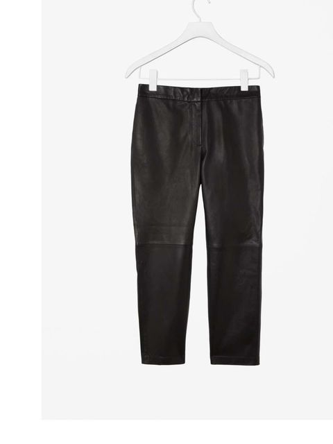 """<p>Leather trousers sounded like an unlikely classic piece, but after multiple seasons of leather on the catwalk and the high street we are highly coveting these as an item to have now and where for seasons to come. £290 <a href=""""http://www.cosstores.com/"""