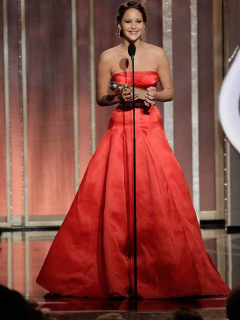 <p>Jennifer Lawrence collects her Best Actress award</p>