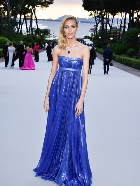 <p>Anja Rubik wearing a Dsquared2 gown at the amfAR's 22nd Cinema Against AIDS Gala, France, May 2015</p>