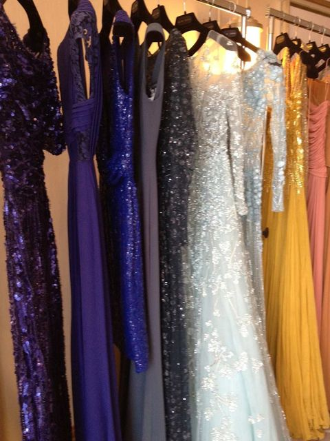 <p>A rail of gowns in the Elie Saab suite at the Martinez</p>