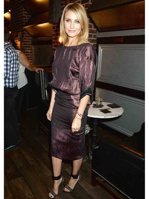 "<p>Cameron Diaz wears <a href=""http://www.elleuk.com/catwalk/designer-a-z/gucci/spring-summer-2014/collection"">Gucci s/s 2014</a> dress at Spike TV's Guys Choice 2014 in Culver City, California.</p>"