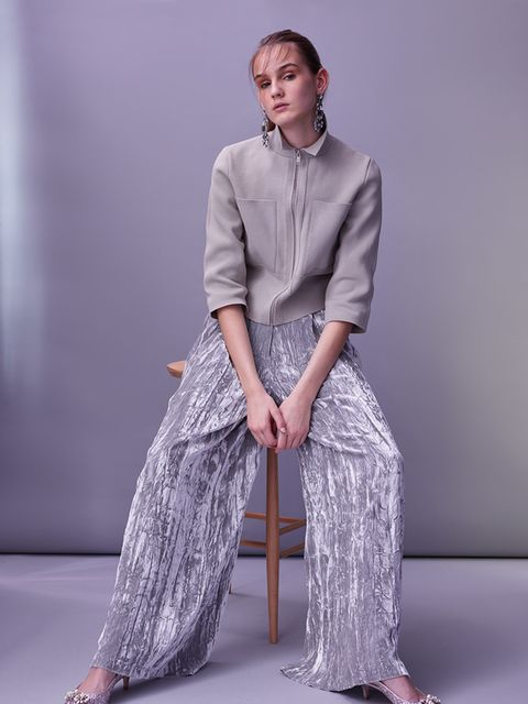 "<p>Use a retro zip-up sports top in a neutral shade to give silver metallics an SS16 upgrade.</p>  <p>Cotton jacket, £125 Cos. Faux-velvet trousers, £85, Asos White. <a href=""http://www.lkbennett.com/Collections/Shoes/Emmie-Glitter-Sling-Backs/p/SCEMMIEGL"