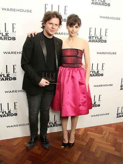 <p>British Designer of the Year:</p><p>Christopher Kane, with presenter Felicity Jones</p>