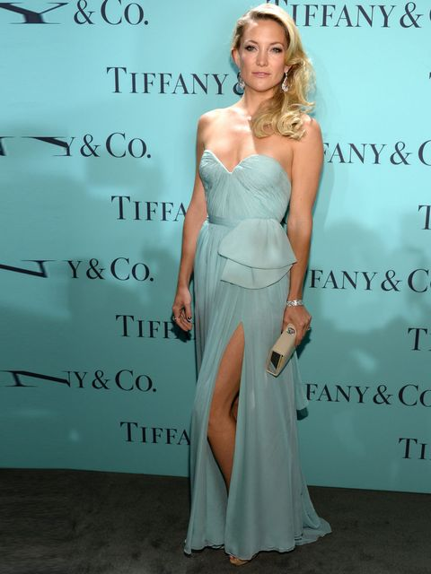 "<p><a href=""http://www.elleuk.com/star-style/celebrity-style-files/kate-hudson"">Kate Hudson</a> wears a Reem Acra dress, Tiffany Ava box clutch in light camel textured leather,Tiffany diamond nature bracelet set in platinum, Tiffany pear shaped morganite"