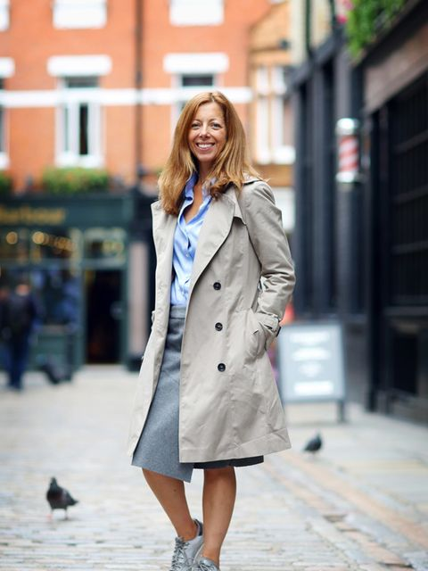 Kirsty Dale, Executive Fashion & Beauty Director Marc Cain coat, Banana Republic shirt, Bimba y Lola skirt, Adidas trainers