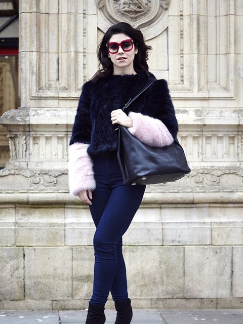 Marina and The Diamonds carrying AllSaints bag at the London Fashion Week.