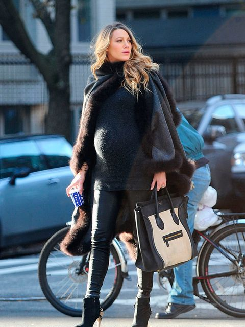 <p>A soft knit is a classic (not to mention comfortable) option.</p>  <p>Blake Lively wears Alicia Adams in New York, December 2014.</p>