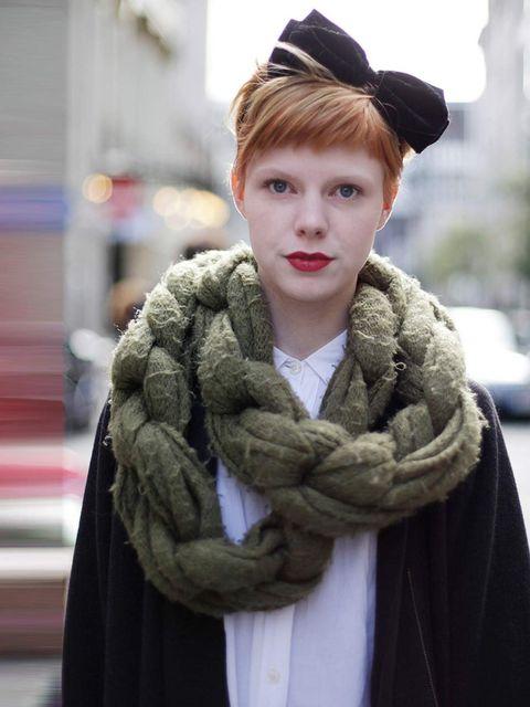 <p>Emma, 23, Hairdresser. Topshop scarf, Cos coat, Religion shirt, H&amp;M headband.</p>
