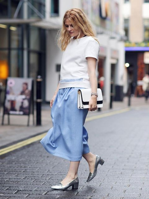"""<p><strong>Amy Lawrence - Associate Health &amp; Beauty Editor</strong></p><p><a href=""""http://www.avenue32.com/whats-new/pale-blue-denim-culottes-68401.html"""">Charlie Brear</a> culottes £470 , <a href=""""http://www.dunelondon.com/brimey-monochrome-double-fol"""