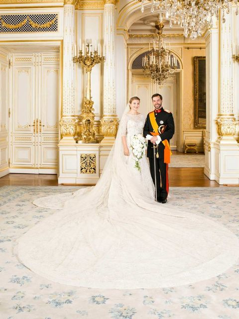 <p>Countess Stephanie de Lannoy wore Elie Saab when she married Crown Prince Guillaume of Luxembourg. </p>