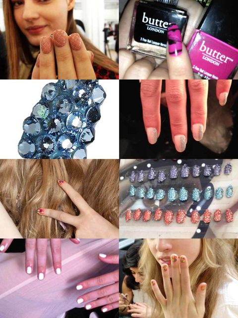 <p>Okay so nude nails may be everywhere backstage at the spring summer 2013 shows but thankfully among the sea of beautifully simple manicures nail art is still on the radar.</p><p>Don't  wait until next spring to rock the looks we're spying on the catwal
