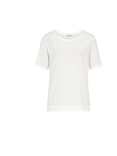 """<p>Silk t-shirt £65 <a href=""""http://www.reiss.com/womens/tops/kami/off-white/"""">Reiss</a></p>"""
