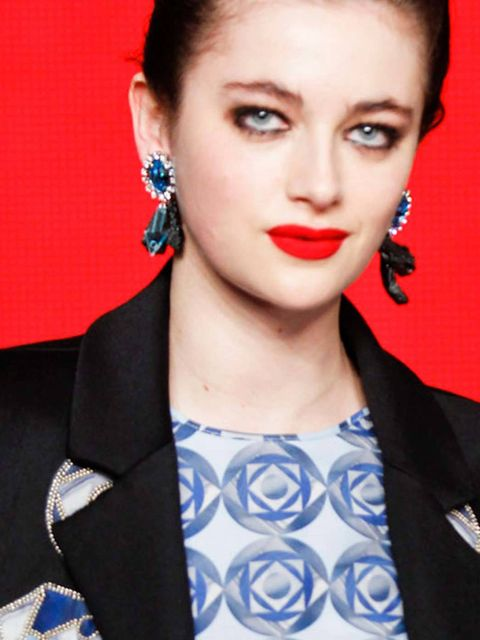 "<p>Graphic and <a href=""http://www.elleuk.com/beauty/beauty-notes-daily/the-two-tone-lip"">Holly Fulton</a> go hand in hand, so an outlined fluorescent red lip bordering on the eye-watering made perfect sense. We will forever be trying to recreate this loo"