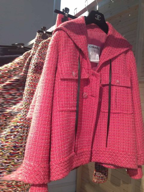 <p>Pink hooded tweed jacket</p>