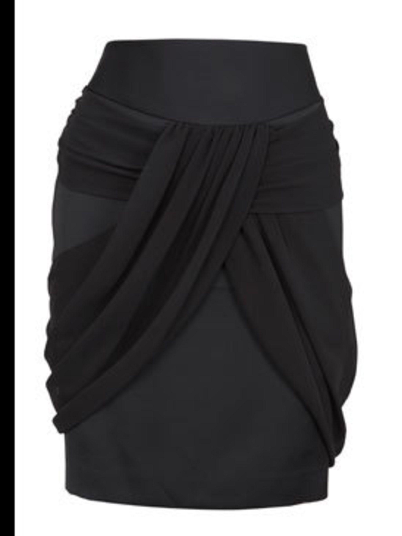 <p>Black draped skirt, £45, by Oasis (01865 881986)</p>