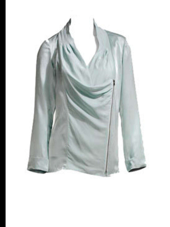 """<p>Green zipped top, £95, by <a href=""""http://www.reiss.co.uk/shop/womens/wtops/nikkita/seamist/"""">Reiss</a></p>"""
