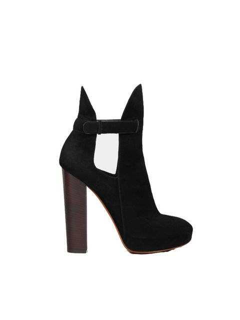 <p>Celine black suede cut-out ankle boot, £638 , for stockists call 0800 123 400</p>