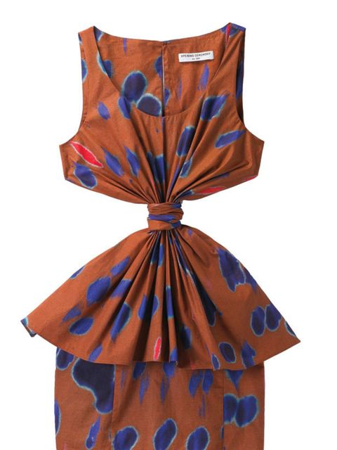 <p>Printed gathered dress, £310, by Opening Ceremony at Harvey Nichols (0207 235 5000)</p>