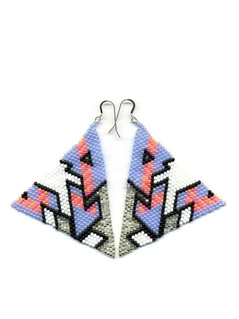"<p>Beaded triangular earrings, £90, by Brokenfab at <a href=""http://www.kabiri.co.uk/designers/brokenfab/pyramid-earrings-lilac.html"">Kabiri</a> </p>"