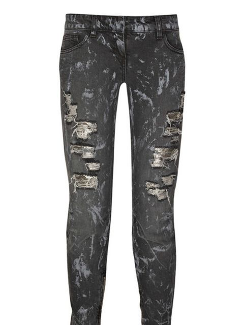 "<p>Distressed cropped jeans, £878.70, by Balmain at <a href=""http://www.net-a-porter.com/product/64525"">Net-a-Porter</a> </p>"
