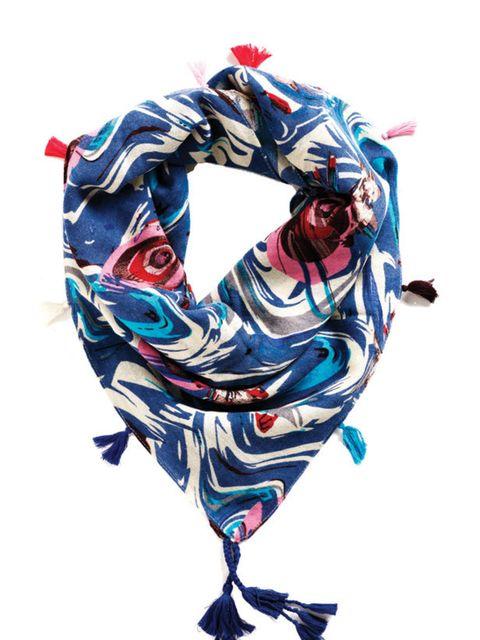 <p>Printed tassle scarf, £56, by Erfurt (0207 486 4800)</p>