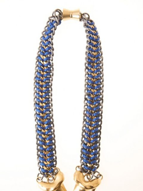 "<p>Blue and gold chain necklace, £486, by <a href=""http://bexrox.myshopify.com/products/exclusive-double-shark-necklace"">Bex Rox</a></p>"