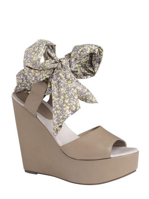 <p>Floral ribbon wedges, £65, by Gap by Pierre Hardy (0800 427 789)</p>
